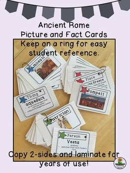 Ancient Rome Picture and Fact Cards, four kid-friendly games and classroom ideas