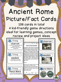 Ancient Rome Picture and Fact Cards, four kid-friendly gam