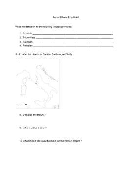 Ancient Rome Pop Quiz