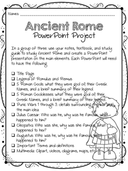 Ancient Rome PowerPoint Project for Core Knowledge SOCIAL STUDIES 3RD GRADE