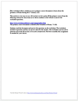 Ancient Rome Primary Source Worksheet: The Grandeur of Rome, 75 AD