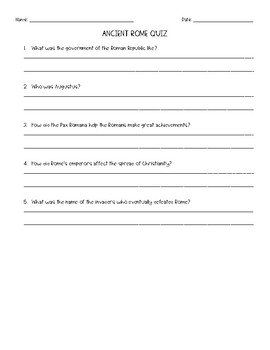 Ancient Rome Quiz and Answer Key