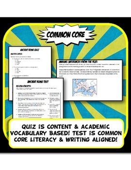 Ancient Rome Quiz and Test Common Core Writing and Literacy