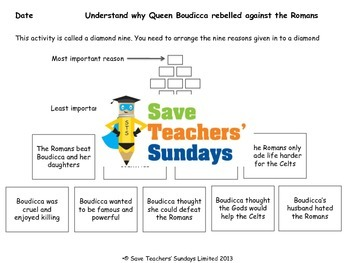 Romans: Queen Boudicca Lesson Plans, Activities and Worksheets (2 lessons)