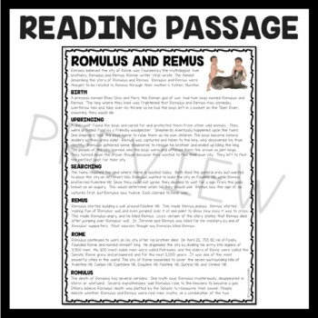 Ancient Rome: Romulus and Remus  Reading Comprehension Worksheet; Roman Empire