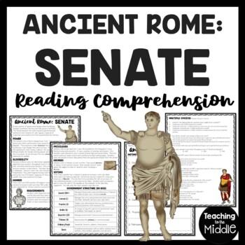 Ancient Rome: Senate Reading Comprehension Worksheet; Roman Empire