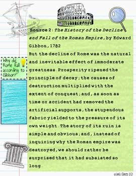 Ancient Rome Source Analysis for Google Classroom or One Drive