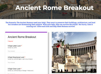 Ancient Rome Technology Bundle: Breakout, Hyperdoc, and Choice Board