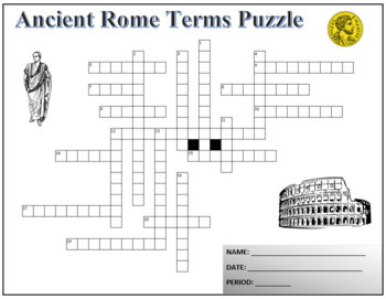 Ancient Rome Terminology Crossword Puzzle Activity Worksheet
