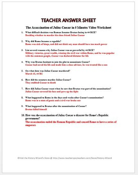 Ancient Rome The Assassination Of Julius Caesar In 5 Minutes Video Caesar Cipher Worksheets Ancient Rome The Assassination Of Julius Caesar In 5 Minutes Video Worksheet