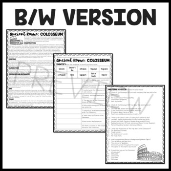 Ancient Rome: The Colosseum  Reading Comprehension Worksheet; Roman Empire