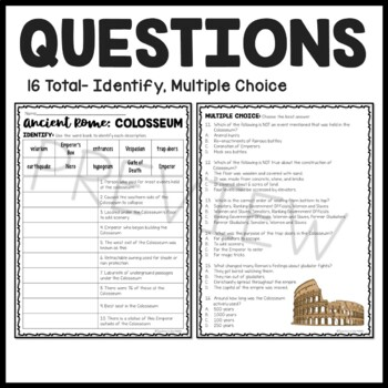 Ancient Rome: The Colosseum Reading Comprehension Worksheet; Roman ...