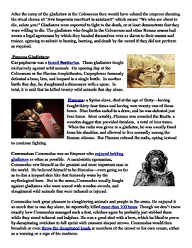 Ancient Rome: The Colosseum and Gladiators Informational Text