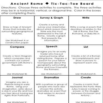 Ancient Rome Tic-Tac-Toe Choice Board