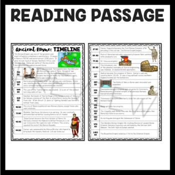 Ancient Rome: Timeline Reading Comprehension Worksheet; Roman Empire