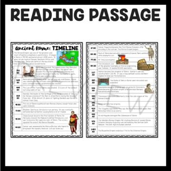Ancient Rome Timeline Reading Comprehension Worksheet by ...