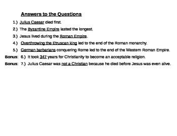 Ancient Rome Timeline Worksheet - NO PREP