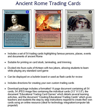 4a341324e Ancient Rome Trading Cards (Roman History) by Technology Integration ...
