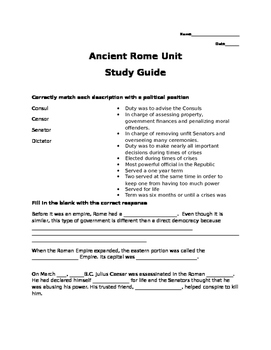 Ancient Rome Unit Study Guide and Test