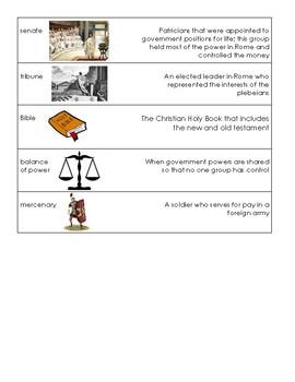 Ancient Rome Vocabulary Cards (S.S. Framework Aligned)