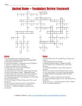 Ancient Rome Vocabulary Crossword Puzzle