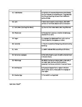 Ancient Rome Vocabulary Sheet