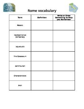 Ancient Rome Vocabulary Sheet - VA SOL 3.1