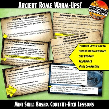 Ancient Rome Warm-Ups Skill Based, Content Mini Lessons