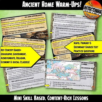 Ancient Rome Warm-Ups Skill Based, World History Mini Lessons & Bell Ringers