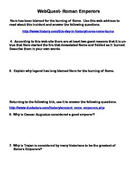 Ancient Rome- Roman Emperors- Webquest