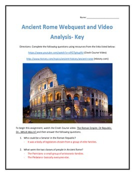 Ancient Rome- Webquest and Video Analysis with Key