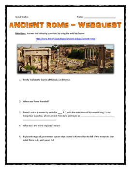 Ancient Rome - Webquest with Key (Roman Empire)