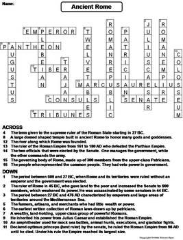 Ancient Rome Worksheet/ Crossword Puzzle (Roman Empire Unit)