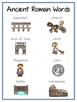 Ancient Rome Writing Word Thematic Folder - Picture Word Wall