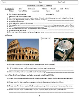 Ancient Rome and Christianity Study Guide