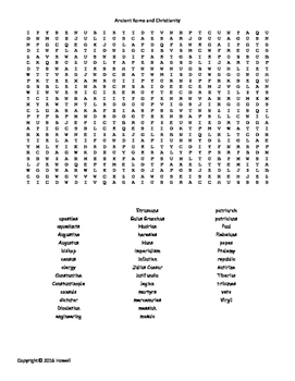 Ancient Rome and Christianity Vocabulary Word Search for World History