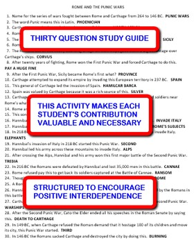 Ancient Rome and the Punic Wars: Interdependent Answer Sheets Activity
