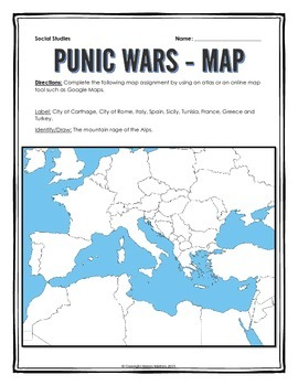 Ancient Rome and the Punic Wars - Webquest and Map Assignment with Key
