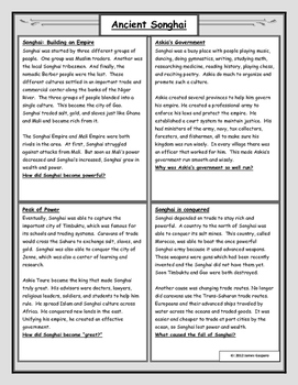 Ancient Songhai: Reading with Worksheet
