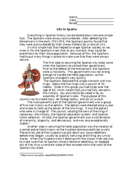 Ancient Sparta Reading