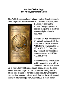 Ancient Technology:  The Antikythera Mechanism