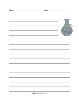 Ancient Water Jug Lined Writing Paper - Gray/Navy