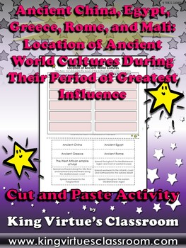 Ancient World Cultures: Location Greatest Influence Cut and Paste Activity