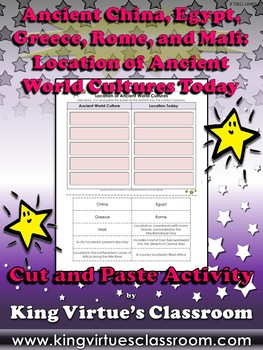 Ancient World Cultures: Location Today Cut and Paste Activity