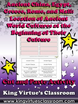 Ancient World Cultures: Location at the Beginning Cut and Paste Activity
