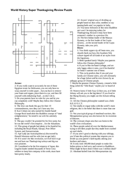 Ancient World History 1st Quarter/Thanksgiving Review Crossword