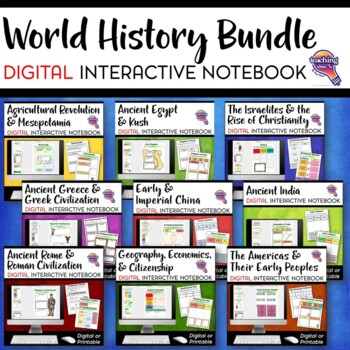 Ancient & World History DIGITAL Interactive Notebook BUNDLE 9 Units Google Drive