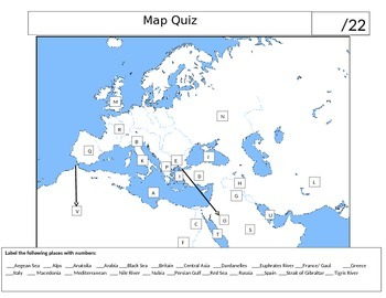 Ancient World History Mediterranean Map Quiz