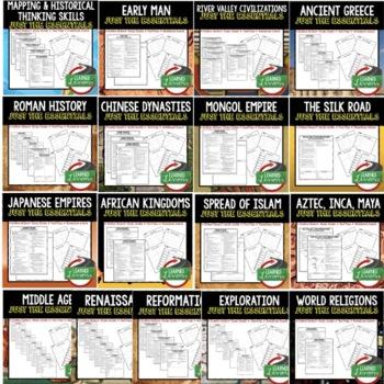 Ancient World History Outline Notes JUST THE ESSENTIALS Unit Review BUNDLE