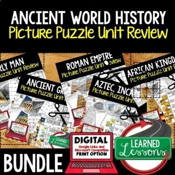 Ancient World History Picture Puzzle Unit Review, Study Guide, Test Prep BUNDLE